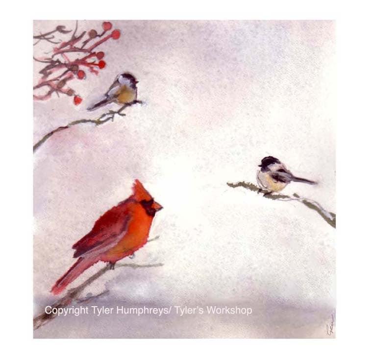Winter Birds Greeting Card Cardinal Chickadees