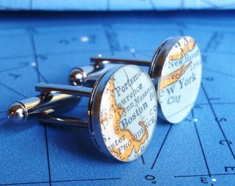 custom vintage map cufflinks with gift box - featured in Martha Stewart Weddings