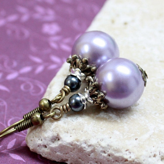 Lilac and Dark Gray Pearl Glass Bead Earrings - A.1709
