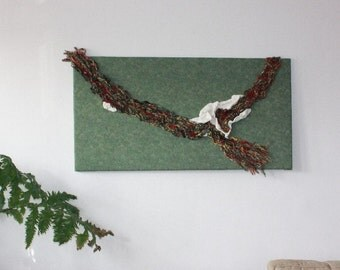 Fiber Art Wall Hanging, Abstract Fabric Wall Art, Fiber Art, Green Wall Hanging, Tapestry, Yarn Wall Art, Hand Spun Yarn, Large Wall Art