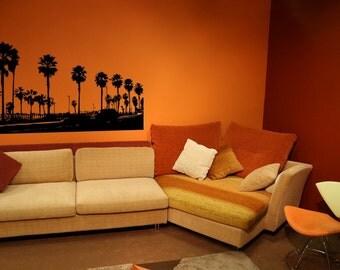 Beach Decor, Palm Tree Decal, Huntington Beach, Beach Wall Decor, Coastal Decor Beach, Tropical Wall Decor, California Decal, Surfer Decor