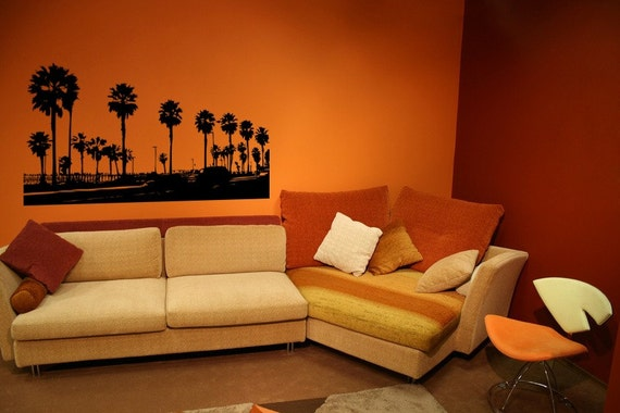 Huntington Beach Wall Decor : Beach decor palm tree decal huntington wall
