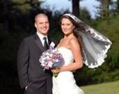 Mantilla bridal wedding veil 45x36 elbow alencon lace