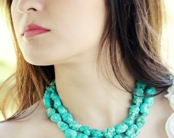 Megan turquoise necklace chunky turquoise necklace statement necklace