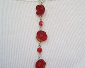 Rosy Red Y necklace and earring set