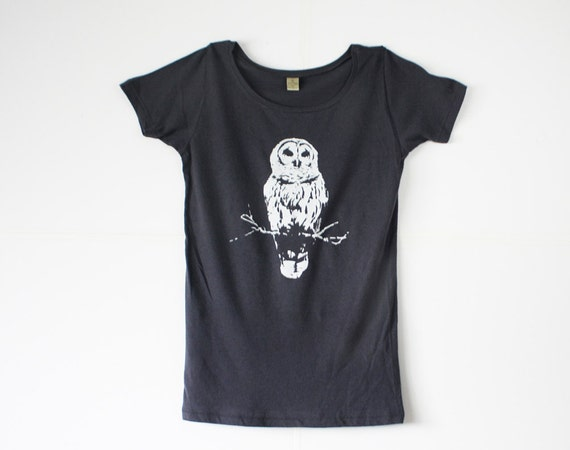 Owl TShirt - Grey - White ink - Winter -  Organic  - Women - Small, Medium, Large, Extra Large - mystical - clothes