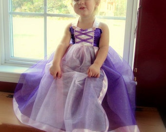 Rapunzel Dress: lined purple sparkle tutu with pink center and straps, Princess Party, Costume, Princess Dinner, wrap around, adjustable