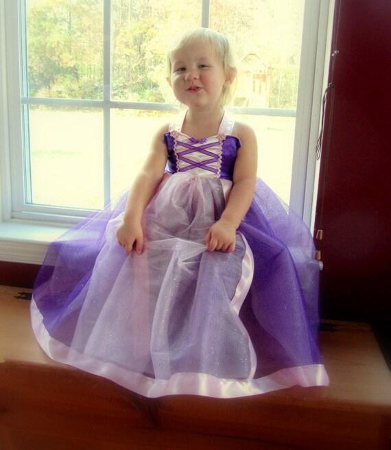 Rapunzel Tutu Dress: sparkle purple with pink center & straps, lined, Princess dinner, Halloween Costume, birthday Party, wrap around dress