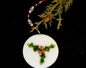 Fused Glass Christmas Ornament Green Holly and Berries on White Glass with Red and White Beaded Strand