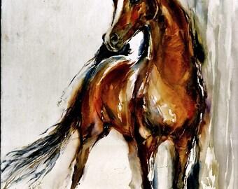 Simian Shi ARABIAN Arab Horse Watercolors Prints Double Matted to 10 x 12 signed by the artist Carol Ratafia