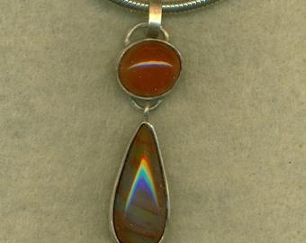 Double Gemstone Pendant Sterling Silver Carnelian Petrified Wood Cabochon   (P-103)