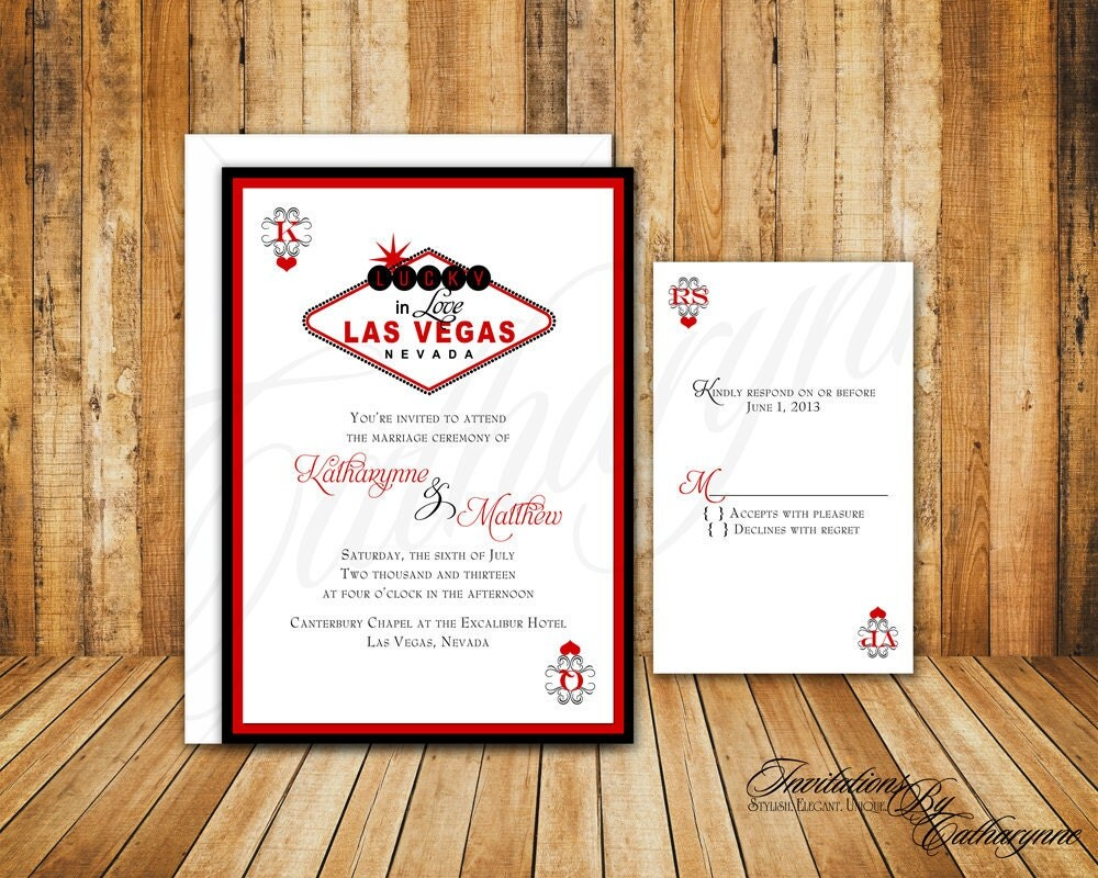 Las Vegas Wedding Invitation Wording: Custom Listing Las Vegas Wedding Invitations In Red And
