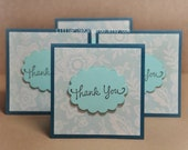 Beige offwhite Floral on Dark Teal  Thank You Mini Cards ( Set of 4) by LittlePinkKangaroo