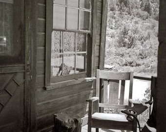 Rustic porch Photography simple life ghost town rocker dorothea lange dust bowl mining town - Imagining somewhere new - fine art photograph