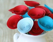 Valentines Day Bouquet; 12 Paper Flowers in Red and Aqua; Valentines Day Gift; Gift for Her; Gift Under 40
