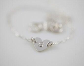 bridesmaid gift set, bridesmaid bracelet, personalized jewelry, heart bracelet, dainty bracelet, initial bracelet - sterling silver bracelet
