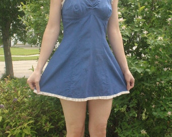 Blue Pinup Swimsuit 40s Bathing Suit One Piece Skirted Vintage 1940s XS S 34