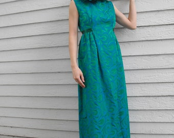 60s Gown Party Dress Ruffle Open Back XS S Blue Green 1960s Vintage