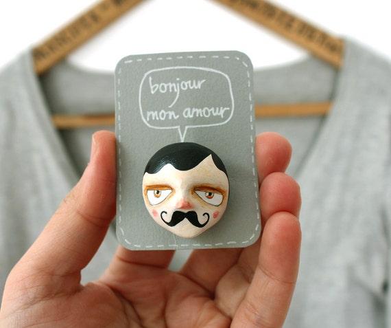 Mustache man brooch - Gentleman face pin - Henri - Stocking stuffer