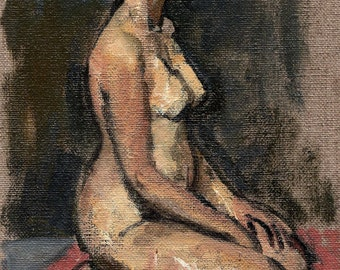 Kneeling Female Nude, Profile. Small Original Figure Painting, Oil on Canvas, 9x6 Classic Nude Study, Signed Original Realist Fine Art