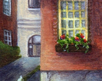 Framed Miniature Landscape Painting, Cityscape Art, Original Small Acrylic Mini Painting with Frame