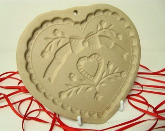 Sweet Heart Clay Cookie Mold Ornaments Paper Casting 1992 Pampered Chef