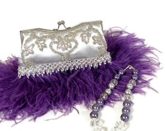 Purple Ostrich Feather Clutch, Evening Bag, Vintage Inspired Bridal Clutch, Silver Embroidered Purse, Wedding Accessories