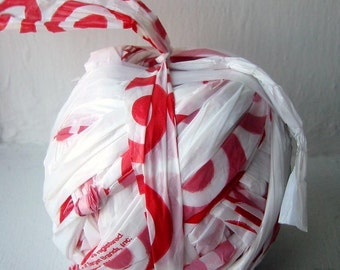 Plarn - Plastic Yarn - DIY - Red and White Plarn Ball - Great for Crochet Projects - About 50 Yards - Handmade Craft Supplies