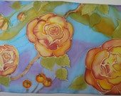 Hand Painted Silk Scarf Yellow Orange Red Roses