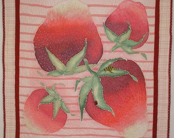 Quilted Wall Hanging or Table Topper Strawberries Hand Painted Art Quilt Quiltsy Handmade