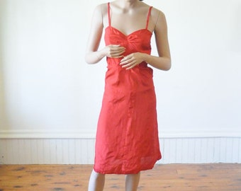 SALE 60's RED SLIP / Slip Dress / Vintage Lingerie Size Small to Extra Small