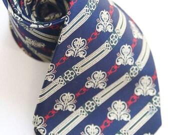 TIE SALE ROYAL Blue Hand Made by Rene Chagal / Vintage Tie / Retro Tie