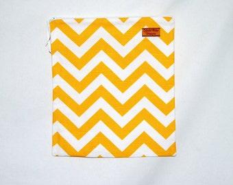 Gallon Size Reusable Bag - Yellow Chevron- Zippered Bag