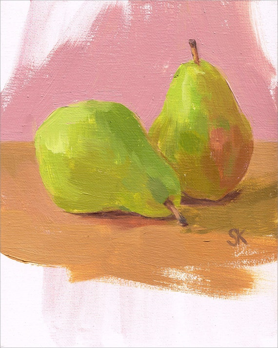 CLEARANCE pear kitchen art original oil painting 8 x 10 - Pear