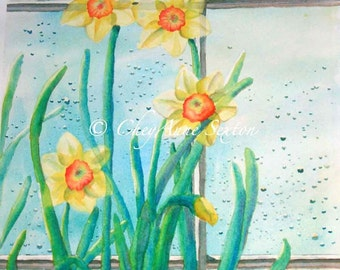 Daffodil ORIGINAL watercolor Narcissus flowers Rainy Day Flowers in the Greenhouse yellow springtime window raindrops watercolour 14x21