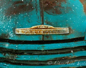 Chevrolet Truck Grill Art in the Snow - Old Farm Truck Bumper - Teal Chevy Vintage - Photography Print
