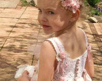 Flower Girl Dress, Girl's Party Dress,   Pink and White Organza Vintage Crochet Bodice SZ 3/4