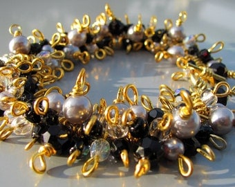 Couture Bracelet Elegant Black Silver Gold - Unique Jewelry, Beaded Jewellery, One of a Kind, Wrapped, High Fashion, FINAL CLEARANCE 75% OFF