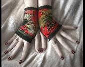 Rosegarden Funeral Velvet Fingerless Gloves - Black Red Silver Moss Brown w/ Gold Scroll & Flowers - Vampire Wedding Dark Fusion Bellydance