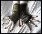 Gentle Moss Velvet Fingerless Gloves | Olive Army Green Black Organza Lace | Gothic Lolita Vampire Victorian Goth Dark Tribal Gypsy Earth