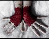 Undead Lace Fingerless Gloves - Deep Wine Red - Vampire Dark Fusion Bohemian Victorian Wedding Garnet Gothic Bellydance Goth Lolita Fetish