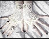 Alduya Lace Fingerless Gloves - Pale Ivory Cream Moss Olive Green Leaves - Wedding Gothic Regency Goth Austen Bridal Fetish Woodland Mori