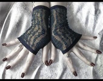 Indigo Eyes Lace Fingerless Gloves - Dark Navy Fishnet - Gothic Vampire Tribal Belly Dance Lolita Evening Victorian Bohemian Burlesque Noir