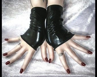 Sanguine Speakeasy Wet Look Fingerless Gloves | Black | Vampire Gothic Visual Urban Industrial Dark Tribal Fusion Bellydance Glam Sleek