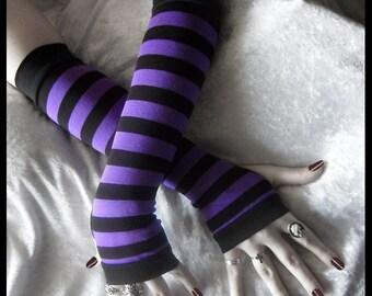 Grimoire's Grasp Arm Warmers - Bright Violet Plum Purple & Black Stripes Cotton - Gothic Tribal Goth Bohemian Yoga Cycling Emo Vampire