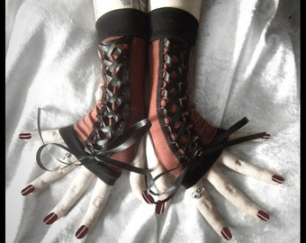 The Time Traveler's Steampunk Corset Laced Up Fingerless Gloves | Brown Red & Black Ribbon | Gothic Noir EGL Lolita Dark Tribal Wedding Goth