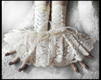 Solstice Corset Laced Up Fingerless Glove Wrist Cuffs | Ivory Lace White Ribbon | Lolita Rococo Fusion Bellydance Regency Aristocrat Bridal