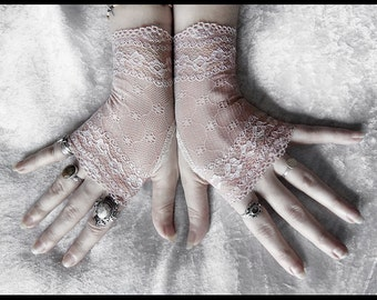 Minette Lace Fingerless Glove Mittens - Nude Blush - Ivory Floral Fishnet -  Gothic Wedding Vampire Lolita Fetish Belly Dance Goth Bridal