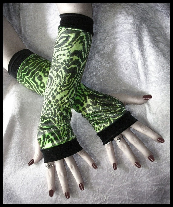 Cyber Acid Jungle Arm Warmers   Neon Lime Green and Black Velvet Animal Print   Cyber Gothic Fetish Punk Rave Belly Dance Dark Fusion Goth