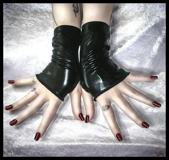 Sanguine Speakeasy Wet Look Fingerless Gloves - Black- Vampire Gothic Visual Urban Industrial Dark Tribal Fusion Bellydance Glam Sleek